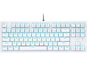 E-Yooso K-620 Mechanical Gaming Keyboard LED Backlit with Blue Switches RGB Side-lit Tenkeyless 87 Keys Anti-Ghosting for Mac PC White