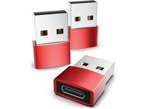 Syntech USB C Female to USB Male Adapter Pack of 3 Type C to USB A Converter Compatible with iPhone 11 12 Pro Max iPad Air Pro Samsung Galaxy S20 etc Red