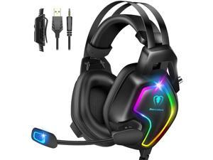 Gaming Headset for PS4 PC Xbox One Controller Professional PS4 Headset with 7.1 Surround Sound Noise Cancelling Mic RGB LED Light Soft Memory Earmuffs for PC Laptop Tablet Mac