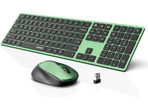 Wireless Keyboard and Mouse Combo WisFox 2.4G Full-Size Slim Thin Wireless Keyboard Mouse for Windows Computer Desktop PC Laptop Mac (Black and Green)