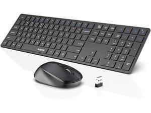 Wireless Keyboard and Mouse Combo WisFox 2.4G Full-Size Slim Thin Wireless Keyboard Mouse for Windows Computer Desktop PC Laptop Mac (Dark Black)