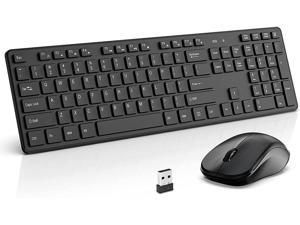 Wireless Keyboard and Mouse Combo WisFox 2.4G Full-Size Wireless Keyboard Mouse Set USB Keyboard Silent Ergonomic Mouse and Keyboard for PC Laptop Desktop Windows (Black)