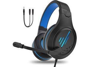 PC Gaming Headphone with Microphone,ENVEL PS5 Gaming Headset with 7.1 Surround Sound Stereo for PS4 Switch,Omnidirectional Microphone Vibration LED Light,Compatible with Mac/Laptop (Black+Blue)