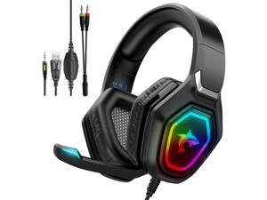 Gaming Headset with Microphone Sendowtek PS4 Gaming Headset with Noise Canceling Mic & LED Light 7.1 Stereo Surround Sound Gaming Headphones Compatible with PC PS5 Xbox One Controller