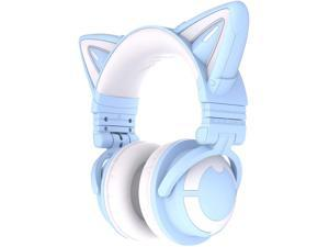 YOWU RGB Cat Ear Headphone 3G Wireless Bluetooth 5.0 Foldable Gaming Headset with 7.1 Surround Sound Built-in Mic & Customizable Lighting and Effect via APP Type-C Charging Audio Cable -Blue