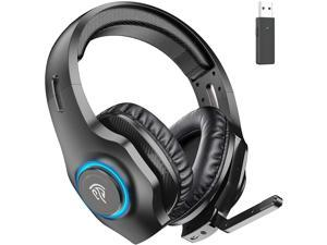 EasySMX Wireless Gaming Headset 2.4GHz with 7.1 Surround Sound Deep Bass & Retractable Noise Canceling Microphone Wireless Headset with RGB Automatic Gradient Lighting Suitable for PS4/PS5 PC