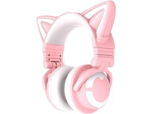 YOWU RGB Cat Ear Headphone 3G Wireless Bluetooth 5.0 Foldable Gaming Headset with 7.1 Surround Sound, Built-in Mic & Customizable Lighting and Effect via APP, Type-C Charging Audio Cable -Pink