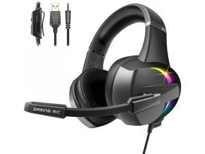 Gaming Headset for PS4 Xbox One PS4 Headset with 7.1 Surround Sound Soft Memory Earmuffs & Noise Cancelling Mic RGB LED Light for PS4 PS5 Xbox One PC Laptop Mac