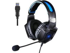 HP Stereo Gaming Headset PC Over Ear Headphones 7.1 Surround Sound with Mic for PC/Mac/Laptop Gamer Headset with Noise Cancelling Mic Comfortable Design and LED Lights