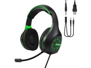 Aolyty Pro Gaming Headset 7.1 Stereo Surround with LED Light Mic Noise Cancelling Over Ear Headphones Compatible with Computer Laptop Phone TabletPS5 PS4 (Green)