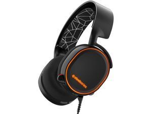 SteelSeries Arctis 5 RGB Illuminated Gaming Headset with DTS Headphone:X 7.1 Surround for PC PlayStation 4 VR Android and iOS - Black (Renewed)