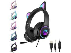 SHANGH AKZ-022 Gaming Wired Headset Cute Cat Ear Headset with 7.1 Surround Sound Headset with Noise Reduction Microphone LED Light Soft Earmuffs Suitable for PC Laptop Game Players
