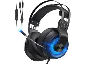 Gaming Headset for PS5 Xbox One PC Switch Mac PS4 Headset with Noise Cancelling Mic 7.1 Suround Sound Over Ear Gaming Headphones with 3.5mm Jack White LED Light