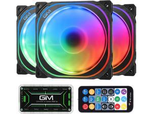 GIM KB-21 RGB Case Fans 3 Pack 120mm Quiet Computer Cooling LED Fan for PC case and CPU Cooler Colorful Rainbow Speed Adjustable Cooler with Hub