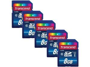 Transcend 8GB SDHC Memory Card Premium Class 10 UHS-I (Pack of 5) TS8GSDU1 - Top Value Bundle