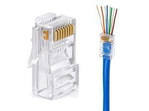Cat6 Connector Cat6 RJ45 Ends 50-Pack Cat6 / Cat5e / Cat5 RJ45 Connector Ethernet Cable Crimp Connectors UTP Network Plug for Solid Wire and Standard Cable (Transparent)