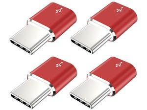 USB Type C Adapter JXMOX (4-Pack) Micro USB Female to USB C Male Convert Connector Fast Charging Compatible with Samsung Galaxy S10 S9 S8 Plus Note 9 8 LG V35 V30 G7 Nexus 6P 5X Moto Z2 Z3(Red)