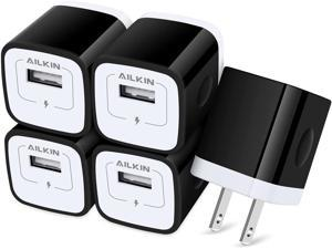 USB Wall Charger Charger Adapter AILKIN 5-Pack 1Amp Single Port Quick Charger Plug Cube for iPhone 12 SE 11 Pro Max 8 7 6S Plus 6 Samsung Galaxy S21+ 5G S10 S20 S7 S6 S5 Edge LG HTC Moto Kindle