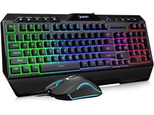 NPET S11 Wired Gaming Keyboard and Mouse Combo LED Rainbow Backlit Gaming Keyboard with Dedicated Multimedia Keys & Wrist Rest Backlit Gaming Mouse 3200 DPI for Windows/Desktop/Computer/PC