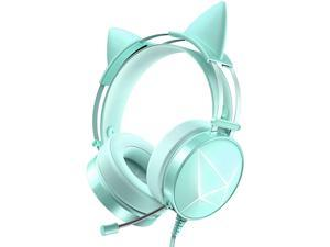 WodnHoak Green Gaming Headset for PC PS4 Headset with Detachable Cat Ear Headphones Xbox One Headset with Noise Canceling Microphone PS5 Headset with 7.1 Surround Sound LED Lights