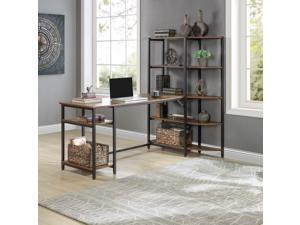 Brown Home Office Large Computer Desk with 5 Tier Storage Shelves and Corner Bookshelf