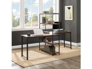 Brown Extra Large Two Person Computer Desk with Storage Shelves for Home Office