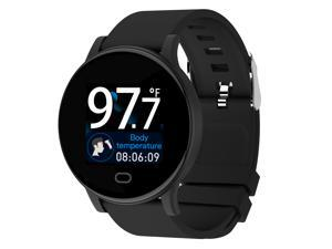 Smart Watch, 1.3 in Temperature Monitor Fitness Tracker Sport Digital Watch with Heart Rate Sleep Monitor Step Counter IP67 Waterproof for Men Women
