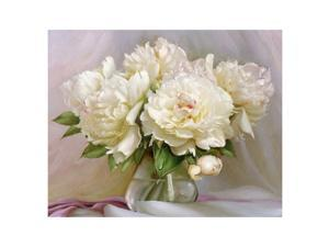 Acrylic Picture White Flowers Diy Digital Painting By Numbers Kits Coloring Paint By Numbers Modern Wall Art Picture