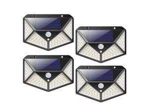 Outdoor 100 LED Waterproof Garden Solar, Security Lights with Motion Sensor, 3 Mode Solar Powered Wall Lights(4 Pcs)