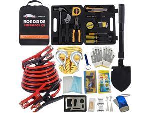 Emergency Roadside Toolkit - Multipurpose Emergency Pack Car Premium Road Kit Essentials Jumper Cables Set 11.8 Foot (Upgrade) Emergency Roadside Kit 124 Pieces