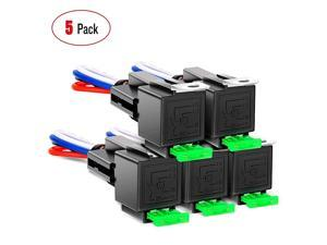 50023R 5 Pack 30A Fuse Relay car Truck Socket kit-30A Switch Harness Set-12V DC 4-Pin SPST Automotive 14 AWG Hot Wires-Auto Switches & Starters Set,2 Years Warranty