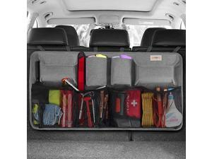 Car Trunk Organizer - 3rd Gen [8 Times Upgrade] Super Capacity Car Hanging Organizer, Equipped with 4 Magic Stick, Car Trunk Tidy Storage Bag with Lids, Space Saving Expert, Black