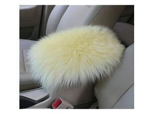 Auto Center Console Pad Furry Sheepskin Wool Car Armrest Seat Box Cover Protector Universal Fit (W-Black)