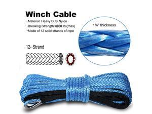 """Nylon Synthetic Winch Cable Rope with Sheath for SUV ATV UTV Winches Truck Boat Ramsey Car 1/4"""" x 50'-8000LB+ Blue"""