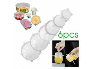 6PCS Stretch Reusable Silicone Bowl Wraps Food Grade Saver Cover Silicon Lids
