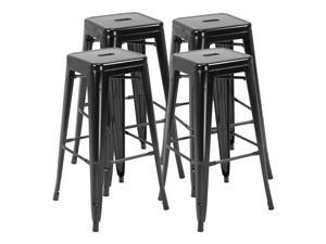 Bar Stools Kitchen Metal Steel Portable Stackable 4pcs,Black