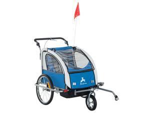 3-in-1 Double Child Bike Trailer Bike Stroller Jogger Foldable Blue