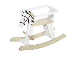 Qaba Wooden Rocking Horse Baby Wood Ride-on Toy 3-6 Years w/ Safety Guardrail