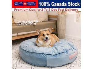 Dog Cat Bed Warm Soft Pet Bed Barrie Blue Round Donut Plush Comfy Sleeping Bed