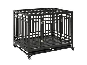 """45"""" Heavy Duty Portable Steel Dog Cage Kennel Crate Pet House Wheels"""