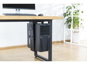 360° Swivel Adjustable Under-Desk /Wall CPU Office Mount Computer Tower Holder