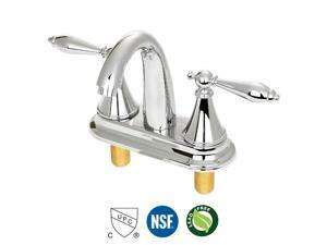 Two Handle Central Bathroom Sink Faucet with Hot and Cold Water, Light Chrome