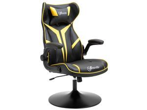 Office Chair Racing Gaming Faux Leather with Pillow, Flip-Up Armrest