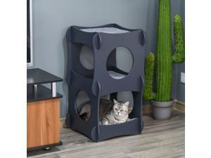 Wooden Cat House Kitten Bed Pet Furniture with Soft Cushion for Rest and Play