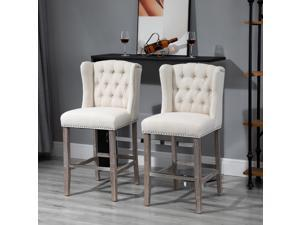 2 Pieces Linen Style Bar Stools Tall Chair with Back, Footrest for Home Pub
