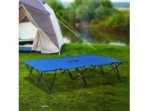 """76"""" 2 Person Folding Camping Cot Travel Hiking Bed Blue"""