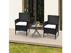 2pcs Rattan Chair Set Wicker Seat with Armrest Garden Coffee