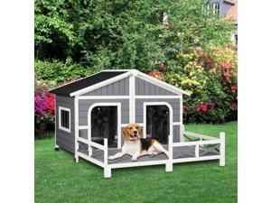 """Wooden Large Dog House, Perfect for the Porch or Deck, 59"""" L, Grey"""
