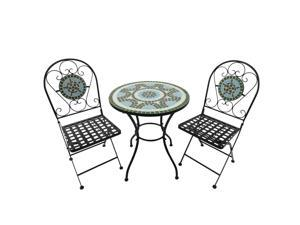 3pc Bistro Mosaic Set Dining Table Chairs 2 Seater Folding