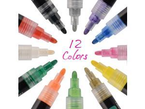 Acrylic Paint Marker Pens, Reversible Tip, 12 Assorted Colors/Pack -